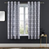 Catherine Lansfield Art Deco Fully Lined Eyelet Curtains - Silver Grey