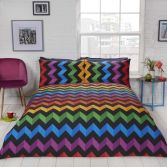 Three D Zig Zag Reversible Striped Duvet Cover Set - Multi