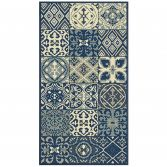 Vigo Woven Geometric Checked Rug - Blue