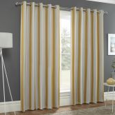 Striped Eyelet Ring Top Thermal Blockout Curtains - Ochre Yellow
