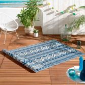 Azimut Geometric Aztec Indoor Outdoor Rug - Blue