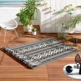 Azimut Geometric Aztec Indoor Outdoor Rug - Black