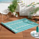 Azimut Geometric Aztec Indoor Outdoor Rug - Turquoise Blue