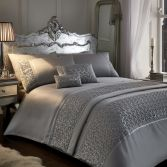 Zenia Sequin Diamante Duvet Cover Set - Silver Grey
