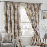 Woodland Floral Fully Lined Tape Top Curtains - Natural Multi