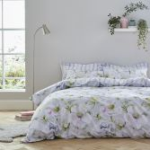 Bianca Arctic Poppy Floral 100% Cotton Duvet Cover Set - White Green