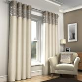 Skye Natural & Cream Lined Eyelet Curtains
