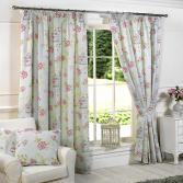 Charlotte Birdcage Floral Butterfly Duck Egg Blue Fully Lined Curtains