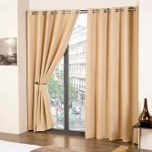 Cali Eyelet Ring Top Thermal Blackout Curtains Natural Cream