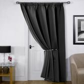 Thermal Supersoft Blackout Door Curtain Black