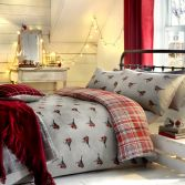 Robin Reversible Flannelette Thermal Duvet Cover Set - Grey Red