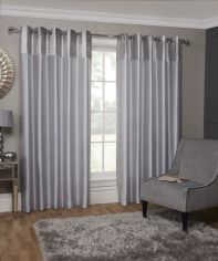 Aurora Luxurious Ombre Velvet Fully Lined Eyelet Curtains - Silver