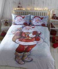 Father Christmas Flannelette Thermal Duvet Cover Set