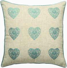 Catherine Lansfield Vintage Hearts Cushion Cover - Duck Egg & Natural