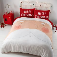 Catherine Lansfield Christmas Santa Nose Duvet Cover Set - Red