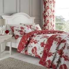 Catherine Lansfield Painted Floral Reversible Bedspread - Red