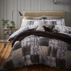 Catherine Lansfield Woodland Animals 100% Brushed Cotton Duvet Cover Set - Grey