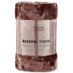 Catherine Lansfield Plain Raschel Throw - Chocolate Brown