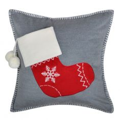 Christmas Stocking Filled Cushion - Grey Red