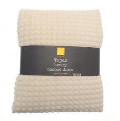 Topaz Soft Blanket Throw - Ivory Cream