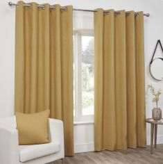 Plain Belmont Eyelet Ring Top Fully Lined Curtains - Ochre Yellow