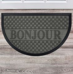 Bonjour Embossed Rectangular Door Mat - Grey