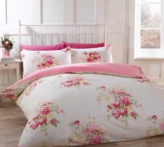 Katie Floral Thermal Flannelette Duvet Cover Set - Cream