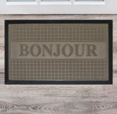 Bonjour Embossed Door Mat - Natural