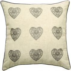 Catherine Lansfield Vintage Hearts Cushion Cover - Grey & Natural