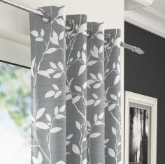 Laural Floral Voile Eyelet Curtain Panel - Grey