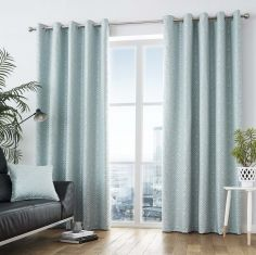 Africa Textured Fully Lined Eyelet Curtains - Duck Egg Blue
