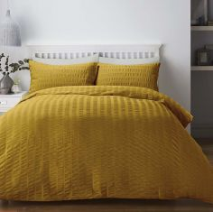 Seersucker Woven Duvet Cover Set - Ochre Yellow