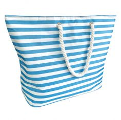 Striped Beach Cooler Bag - Blue White