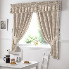 Gingham Check Kitchen Pelmet - Beige