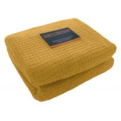 100% Cotton Honeycomb Woven Blanket Throw - Ochre Yellow