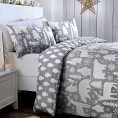 Arctic Animals Duvet Cover Set - Grey