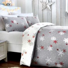 Christmas Snowflake Flannelette 100% Brushed Cotton Duvet Cover Set - Grey Red