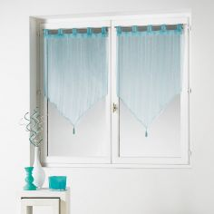 Cristally Pair Of Striped Silver Thread Tassel Voile Blinds With Tab Top - Sky Blue
