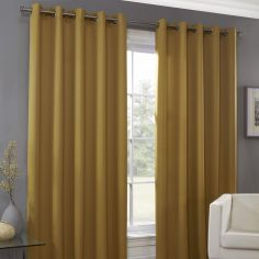 Plain Eyelet Ring Top Thermal Blockout Curtains - Ochre Yellow