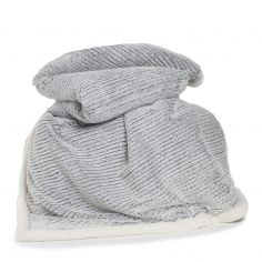 Arbroath Soft White Edged Throw - Charcoal Grey