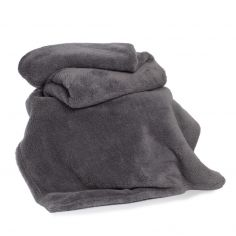 Roosevelt Plain Soft Throw - Charcoal Grey