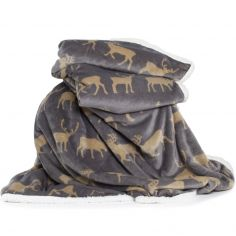 Printed Flannel Sherpa Stag Throw - Grey
