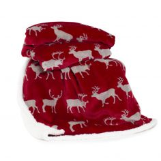 Printed Flannel Sherpa Stag Throw - Red
