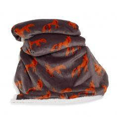 Printed Flannel Sherpa Fox Throw - Orange Grey