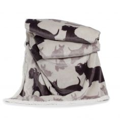 Printed Flannel Sherpa Terrier Throw - Cream Multi