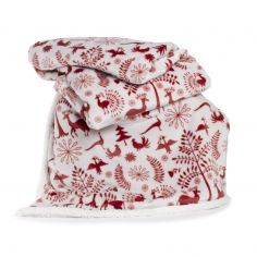Printed Flannel Sherpa Scandi Throw - Red