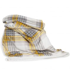Printed Flannel Sherpa Check Throw - Yellow Grey
