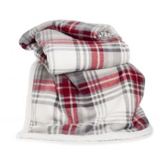 Printed Flannel Sherpa Check Throw - Red Grey