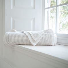 Stonewashed 100% Cotton Plain Throw - White