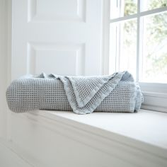 Stonewashed 100% Cotton Plain Throw - Duck Egg Blue